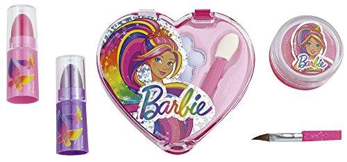 Happy People 52007 Barbie Schminkset Herz Look, für Mädchen, zum Aufklappen, Make-Up Zubehör