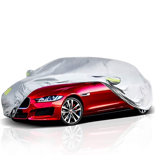 ELUTO Car Cover Outdoor Sedan Cover Waterproof Windproof All Weather Scratch Resistant Outdoor UV Protection with Adjustable Buckle Straps for Sedan Fits up to 185''(185''L x 70''W x 60''H)