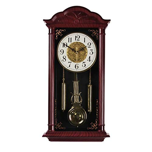 Reloj de pared con péndulo retro, reloj de pared grande, silencioso, reloj de péndulo decorativo, para salón, cocina y decoración del hogar, 23,4 x 11,6 pulgadas