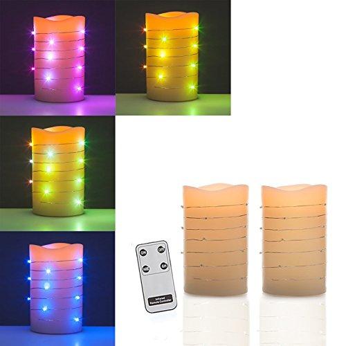 2er Set LED Kerzen aus Echtwachs mit Fernbedienung, beleuchtete Flamme & Farbwechsel, Stumpenkerzen 13,5 cm Höhe …