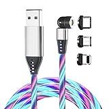 CompuPort Cargador Visible USB LED Cable de Conexión Rápida Rotación de 540 Grados 3 en 1 Colorido Luminoso LED Magnético de Carga Rápida Cargador de Teléfono de Datos para Tipo-C, Android e iOS