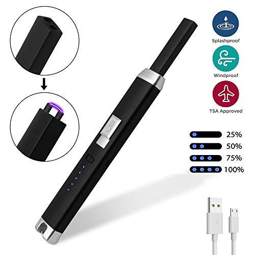 DBG Aansteker, elektrische plasma-aansteker, USB-oplaadbaar, winddicht, vlamloze aansteker met veiligheid voor sigarettenaanstekers, sigaren