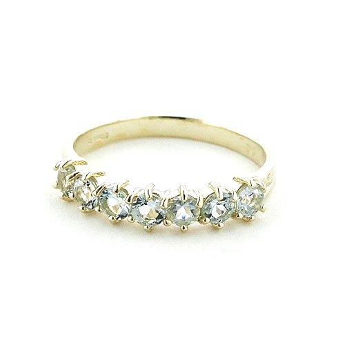 Englisch Damen-Ring solide 9 Karat Gold Gelbgold Aquamarin - Verfügbare Größen : 50 bis 64