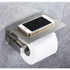 Toilet Paper Holder, APL SUS304 Stainless Steel Bathroom Paper Tissue Holder with Mobile Phone Storage Shelf Rack Brushed Nickel