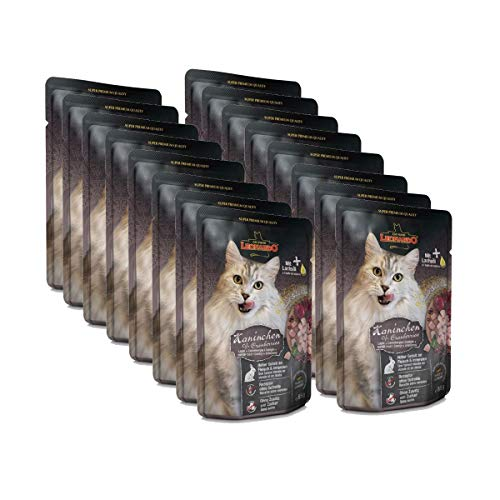 Leonardo Nassfutter für Katzen im Frischebeutel, Kaninchen + Cranberries, 16x85g