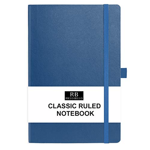 RICCO BELLO Classic College Ruled Hardcover Journal Notebook, Elastic Band Closure, Pen Holder, Vegan Leather, Inner Pocket, 5.7 x 8.4 inches (Royal Blue)