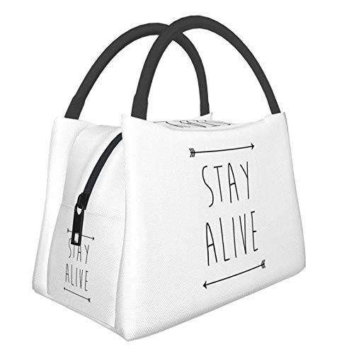 Stay Alive - Bolsa de almuerzo para mujer, tamaño pequeño, para ir de compras, escuela, picnic, viajes, camping