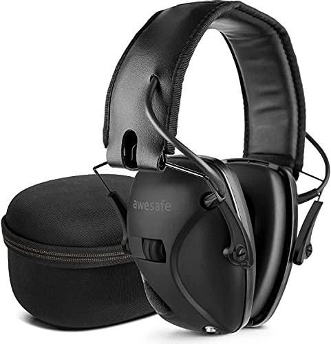 awesafe Las orejeras electrónicas de protección auditiva vienen con funda de transporte rígida, orejeras de disparo con amplificación de sonido y supresión (Black)