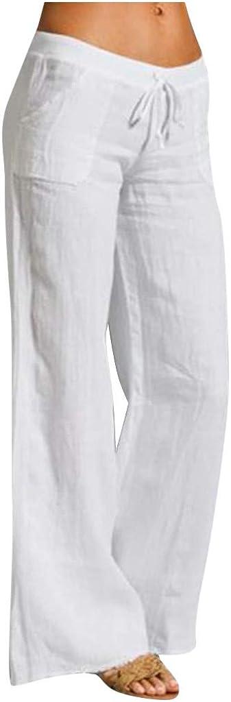 Zpervoba Linen Pants Women Casual Solid Color Summer Pants with Pockets Comfy Loose Elastic Waist Wide Leg Pants Cotton Linen