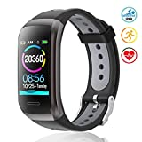 TagoBee TB14 Reloj Inteligente Fitness Trackers IP68 Waterproof Smart Band 1.14'' LCD Color Screen Sport Smart Brazalete con Monitor de frecuencia cardíaca Compatible con Android e iOS (Black)