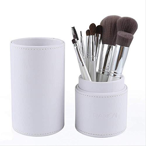 15pcs Pinceaux De Maquillage Rose Ensemble Pincel Maquiagem Poudre Oeil Kabuki Brosse Kit Complet Cosmétiques Beauté Outils Avec Étui En Cuir 10pcs cylindre blanc