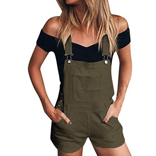 iHENGH Damen Frauen Lose Denim Trägerhose Overalls Jeans Demin Shorts Jumpsuit(Grün, M)