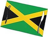 Manteles individuales con estampado de bandera de Jamaica, juego de 6 unidades, fáciles de limpiar, resistentes al calor, resistentes a las manchas