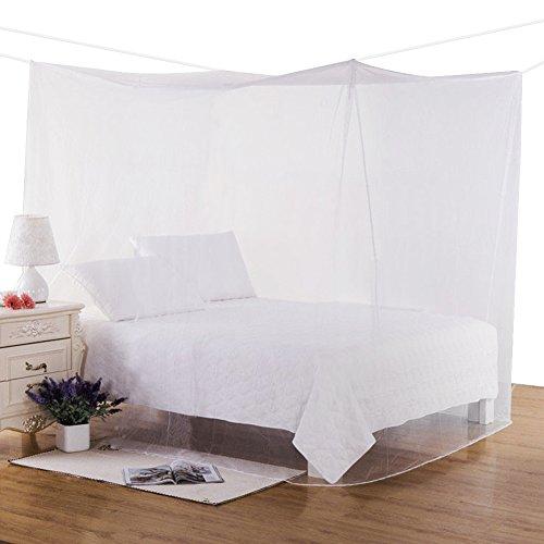 Mture Moustiquaire, Moustiquaire de lit Ciel de lit Grande Moustiquaire Baldaquin pour Lit Double anti-moustique-Insectes, 220x210x220cm,(Blanc)