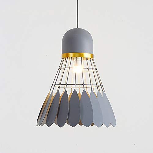 Xindaxin Moderne Simple Métal Pendentif En Fer Suspendus Lumière Volant Créatif Badminton Lustre Lumière Art Droplight E27 (Color : Gris)
