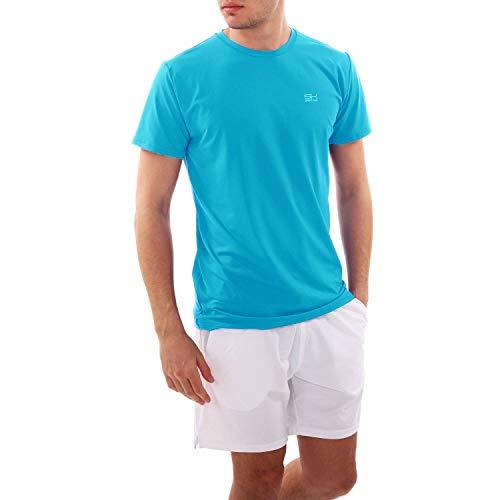 Sportkind Jungen & Herren Tennis, Running, Fitness Rundhals T-Shirt, atmungsaktiv, UV-Schutz UPF 50+, Kurzarm, türkis, Gr. L