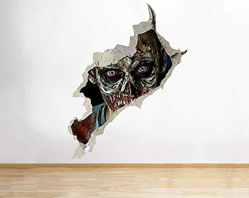 Wandtattoo Zombie Horror Scary Face Cooler Raum 3D Vinyl Kinderzimmer Aufkleber