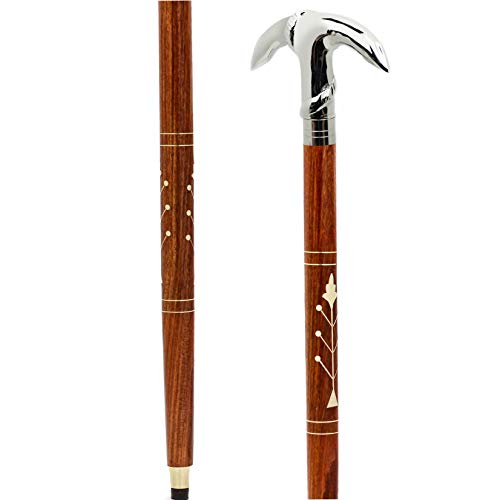 Premium Chromed Deluxe Walking Sticks | Rosewood Crafted Walking Cane with Solid Brass Chrome Decorative Bars | Walking Canes & Crutches | Nagina International (Crane Hook, 36 Inches)