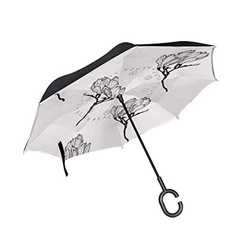 Paraguas plegables Arte Abstracto De Flores Blancas Paraguas Invertido Antiviento Protección contra Rayos UV Ligero Compacto Invertida Paraguas para Coche Viajes Playa Mujeres Niños Niñas