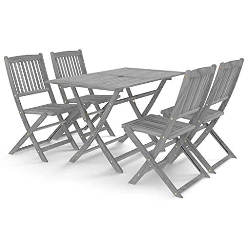 vidaXL Solid Acacia Wood Garden Dining Set 5 Piece Furniture Outdoot Wooden Breakfast Table Desk Chair Seating Seat Garden Patio Grey