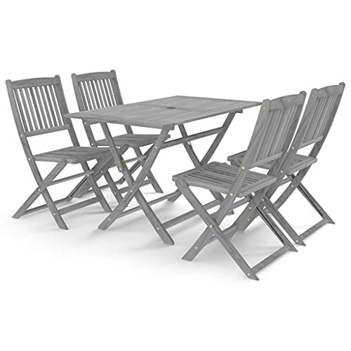 vidaXL Solid Acacia Wood Garden Dining Set 5 Piece Furniture Outdoot Wooden Breakfast Table Desk Chair Seating Seat Garden Patio Grey