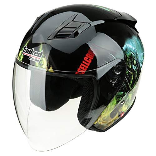 Qianliuk T-536 Serbatoio Moto Casco Quattro Stagioni Universale Mezza cap antiappannante Motocross caSchi 53-63cm