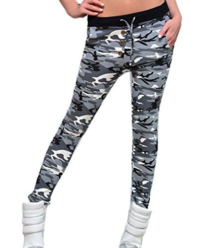 Mujer Pantalones Camuflaje Leggins Deporte Slim Fit Ajustado Vintage N