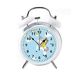 Children's Desk Decor Decorative Alarm Clock Bedside Snooze Double Bell Silent Bedroom Quartz Round Digital Living Room Metal White Girl and unicornsmall Girl and her Sweet Unicorn