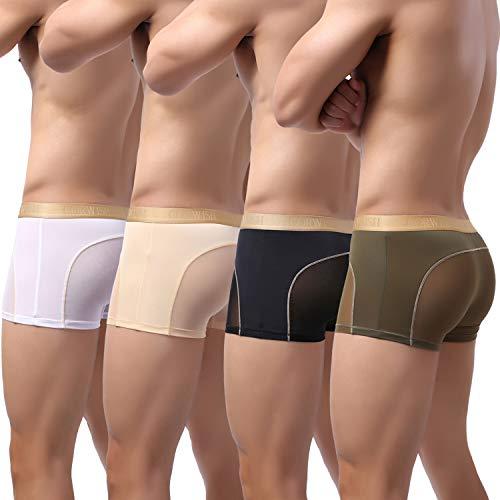 Laxier 4er-Pack Herren Boxer Shorts Weiche Unterhosen Durchsichtige Boxershorts Sexy Unterwäsche Trunk für Männer (WT-BK-NY-SK, l)