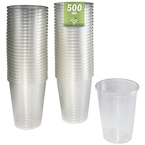 50 vasos de 500 ml. Vasos biodegradables de plástico orgánico reutilizables. Vasos PLA transparentes para bebidas frías, Vasos ecológicos reutilizables para fiestas, campings, eventos y cumpleaños.