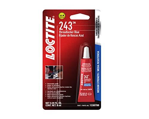 Loctite 1330799 Threadlocker 243 Surface Insensitive-Medium Strength Tube, Blue, 6-ml