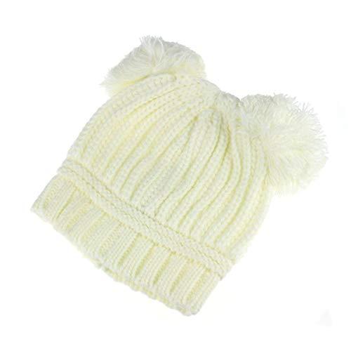 Lindo Doble Bola de Pompones de Punto Casquillos del bebé Calentador del oído niños niñas Crochet Beanie Hairball Sombrero Lindo niño Tapas (Color : Beige)