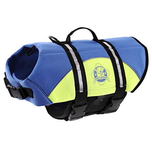 Paws Aboard Pet Life Jacket Blue/Yellow Neoprene...