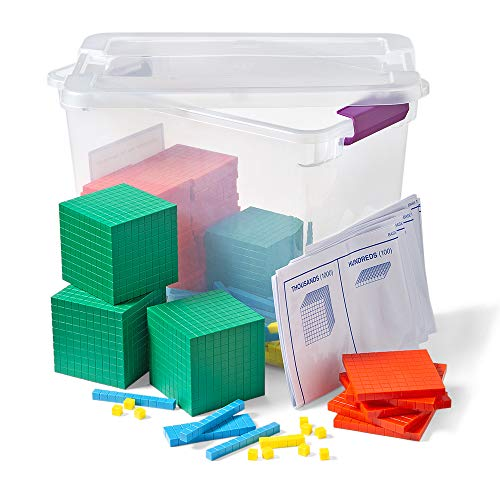 hand2mind Differentiated Plastic Base Ten Blocks Complete Set, Place Value Blocks, Counting Cubes for Kids Math, Base 10 Math Manipulatives for Kids, Kindergarten Homeschool Supplies (Set of 484)