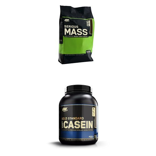 Optimum Nutrition Serious Mass Chocolate 5.44kg with Chocolate Casein 1.82kg