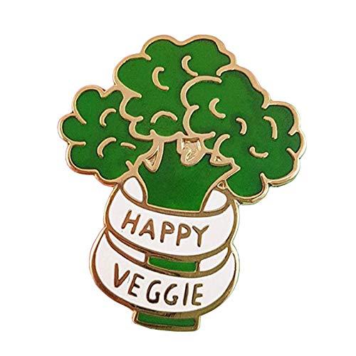 JKDFGJ Happy Veggie Enamel Pin Broccoli Badge Vegan Food Brooch Pefect Vegetarian Gift Approx 30mm