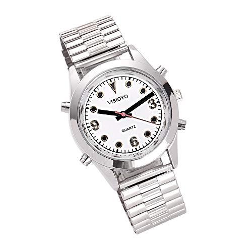 Reloj Parlante en Español, Reloj de Pulsera,Esfera Blanco (Expandible de Pulsera TSSW-2201S)