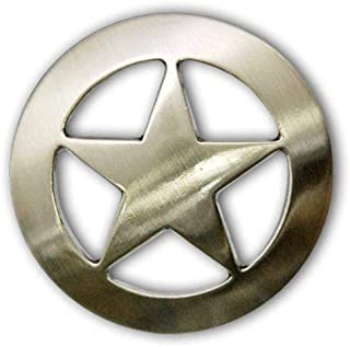 "ShopForAllYou Leathercraft Accessories 2903SB-M05 1 1/2"" Brushed Nickel Plain Texas Ranger Star Screw Back Concho"