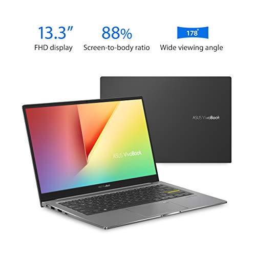 "ASUS VivoBook S13 Thin and Light Laptop, 13.3"" FHD Display, Intel Core i5-1035G1 CPU, 8GB LPDDR4X RAM, 512GB PCIe SSD, Windows 10 Home, Fingerprint Reader, Indie Black, S333JA-DS51"