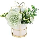 Jarrón Artificial con Flores,Jarrones para Sala de Estar,Arreglo de Decoración de Jarrones,Jarrón de Flores de Simulación para Decoración de Mesa,Hogar, Oficina y Boda Green