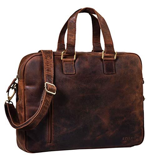 STILORD 'Jonte' Vintage Work Bag Leather Men Women Large Shoulder Bag for 13,3 Inch Laptop MacBook Briefcase in Genuine Leather, Colour:Zamora - Brown