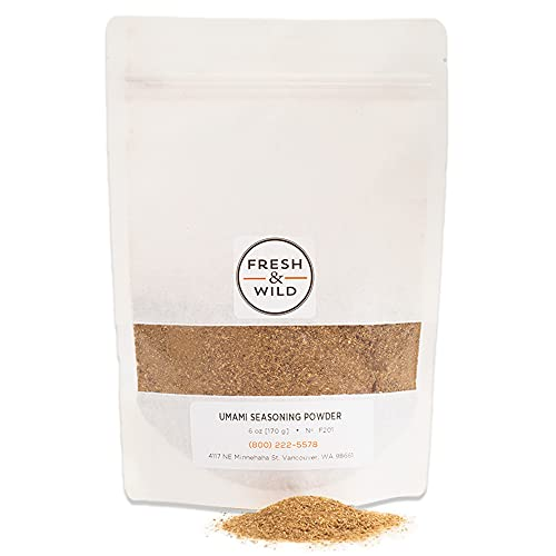 Fresh & Wild   Umami Seasoning Powder / Dust   All Natural, Vegan, Gluten-Free   For Cooking with Grilled Fish, Roasted Meats, Soups, Stews, Sausage & More  1 lb   Gourmet, Chef-Inspired Ingredients