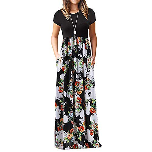 Summer Dresses for Women Maxi Dress Plus Size Dress Short Sleeve Casual Dresses with Pockets (XL, White)