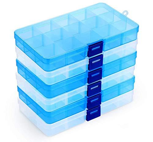 Lot de 6 Boîte de Rangement Plastique,15 Grilles Diviseurs à Compartiments Ajustables Boîte de Organisateur Contenants de Rangement pour Collier,Boucles doreilles,Articles de Bricolage