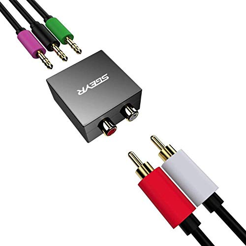 SGEYR 5.1 Audio Console Adapter Convert Stereo RCA to 3 x 1/8 (3.5mm) Jack Bidirectional Conversion for 5.1 Multimedia Speaker