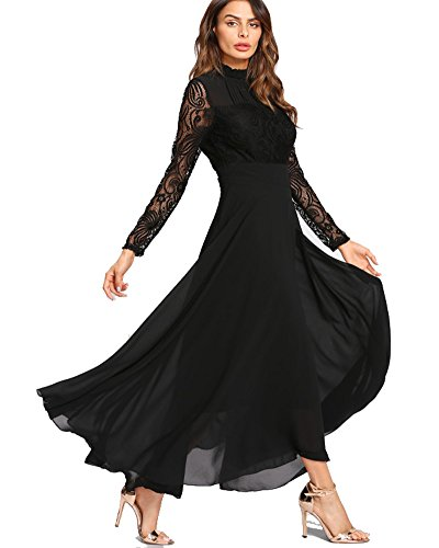 Roiii Women's Formal Floral Lace Chiffon Long Sleeve Evening Cocktail Party Maxi Dress (XX-Large, Black)