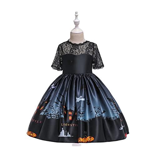Yokbeer Disfraz de Bruja de Halloween para Nias,Disfraz de Fantasa con Sombrero de Bruja,Disfraz de Calavera de Calabaza Fantasma para Nios,Trajes de Fiesta de Cosplay Impresos