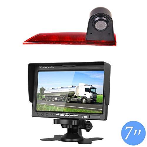 Telecamera per la retromarcia integrato nella terza luce freno per veicolo + MONITOR 7 POLLICI A COLORI PER TELECAMERA DI SORVEGLIANZA per Transporter Ford Transit Custom V362 2012 – 2019