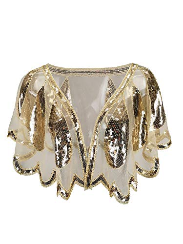 Grouptap Elfenbein Beige Creme Hochzeit Bräute Frauen Gatsby Cape Schal Perlen Wrap Bolero für 1920er Jahre Kunst Dekor Mode Abend Partykleid (Campagne-Gelb, Einheitsgröße)