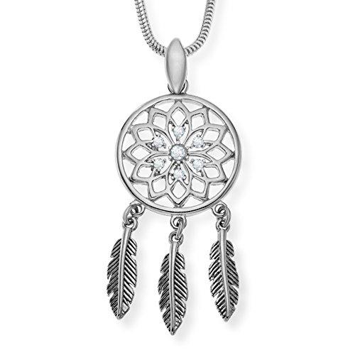 LillyMarie Señoras Collar Plata 925 Swarovski Elements Atrapasueños Colgante Claro Longitud-ajustable Regalo Para Mujer